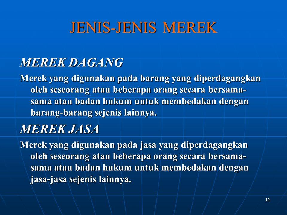 12 JENIS-JENIS MEREK MEREK DAGANG Merek yang digunakan pada barang yang diperdagangkan oleh seseorang atau beberapa orang secara bersama- sama atau ba