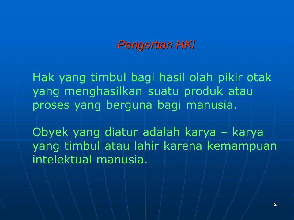 3 PEMBAGIAN HKI 1.HAK CIPTA (COPYGRIHT) 2.HAK KEKAYAAN INDUSTRI (INDUSTRIAL PROPERTY RIGHTS) : a.