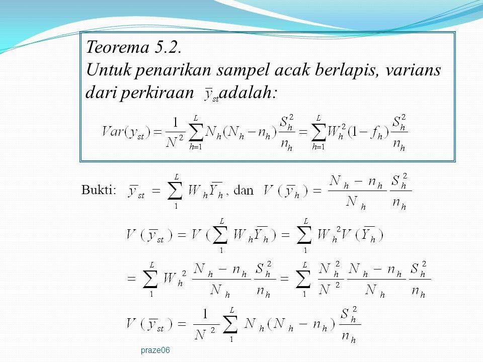 praze06 Teorema 5.2. Untuk penarikan sampel acak berlapis, varians dari perkiraan adalah: Bukti: