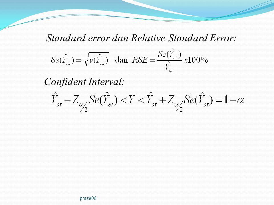 praze06 Standard error dan Relative Standard Error: Confident Interval: