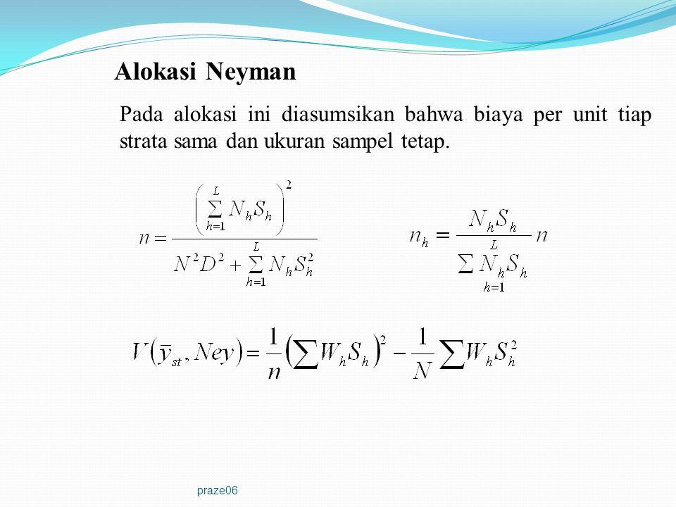 praze06 Alokasi Neyman Pada alokasi ini diasumsikan bahwa biaya per unit tiap strata sama dan ukuran sampel tetap.