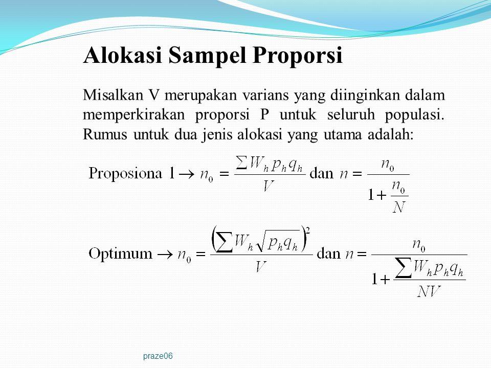 praze06 Alokasi Sampel Proporsi Misalkan V merupakan varians yang diinginkan dalam memperkirakan proporsi P untuk seluruh populasi. Rumus untuk dua je