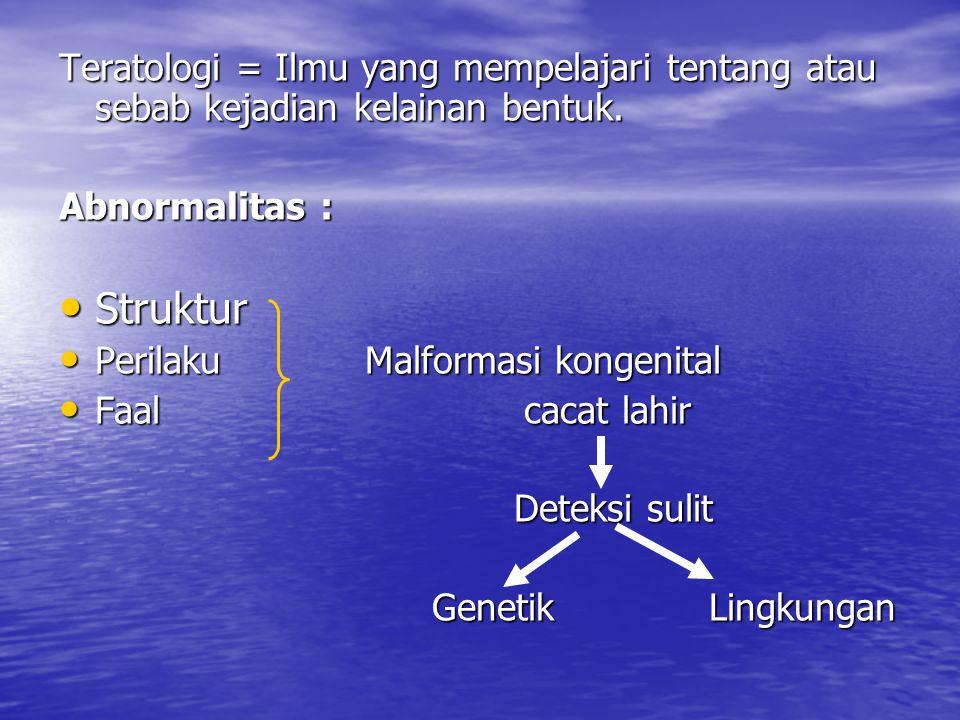Teratologi = Ilmu yang mempelajari tentang atau sebab kejadian kelainan bentuk. Abnormalitas : Struktur Struktur Perilaku Malformasi kongenital Perila