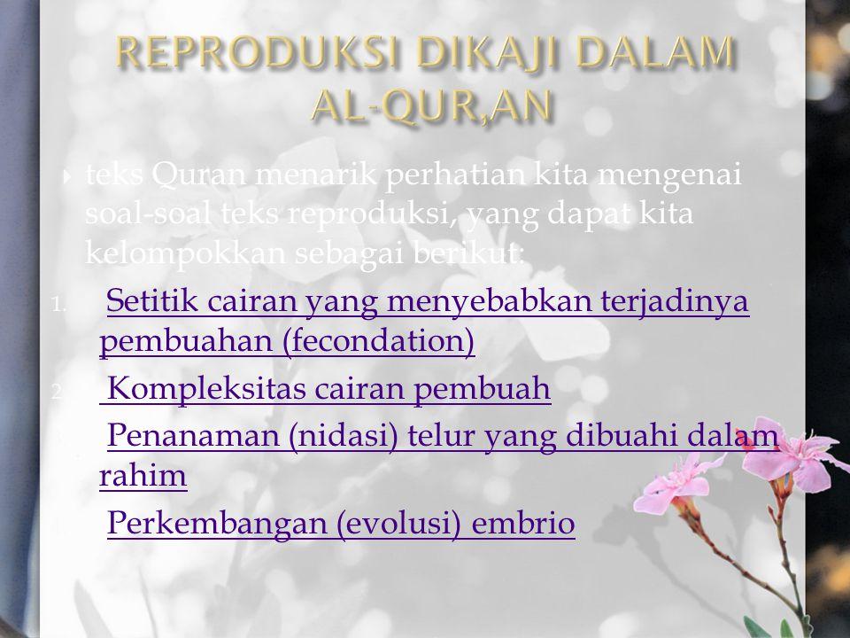  teks Quran menarik perhatian kita mengenai soal-soal teks reproduksi, yang dapat kita kelompokkan sebagai berikut: 1. Setitik cairan yang menyebabka