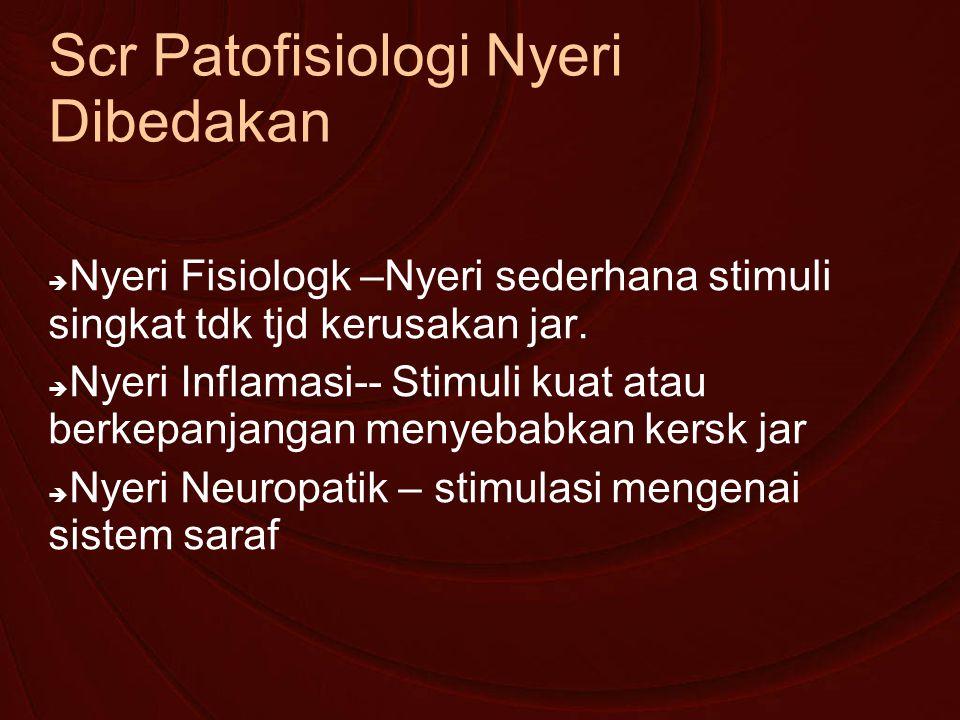 Scr Patofisiologi Nyeri Dibedakan  Nyeri Fisiologk –Nyeri sederhana stimuli singkat tdk tjd kerusakan jar.