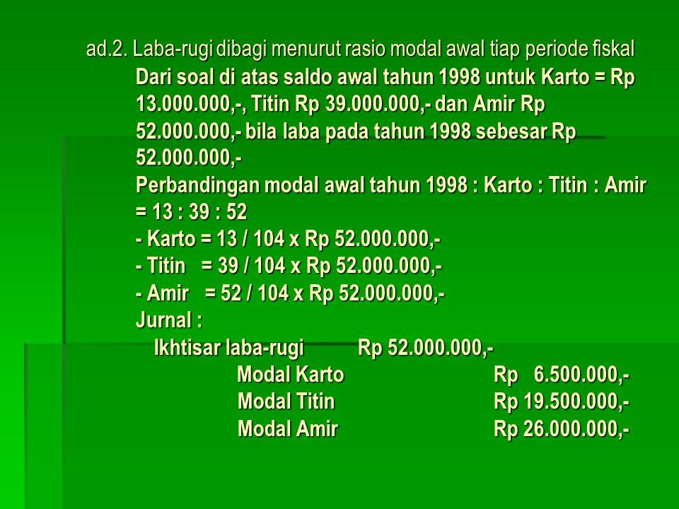 ad.1. Laba-rugi dibagi menurut rasio modal awal pendirian Firma KOTA didirikan pada tanggal 2 Januari 1997, dengan masing-masing modal sekutu Karto Rp