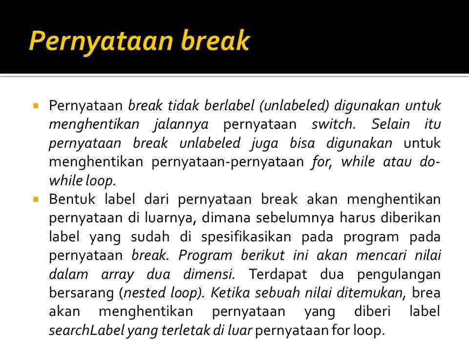  Pernyataan break tidak berlabel (unlabeled) digunakan untuk menghentikan jalannya pernyataan switch. Selain itu pernyataan break unlabeled juga bisa