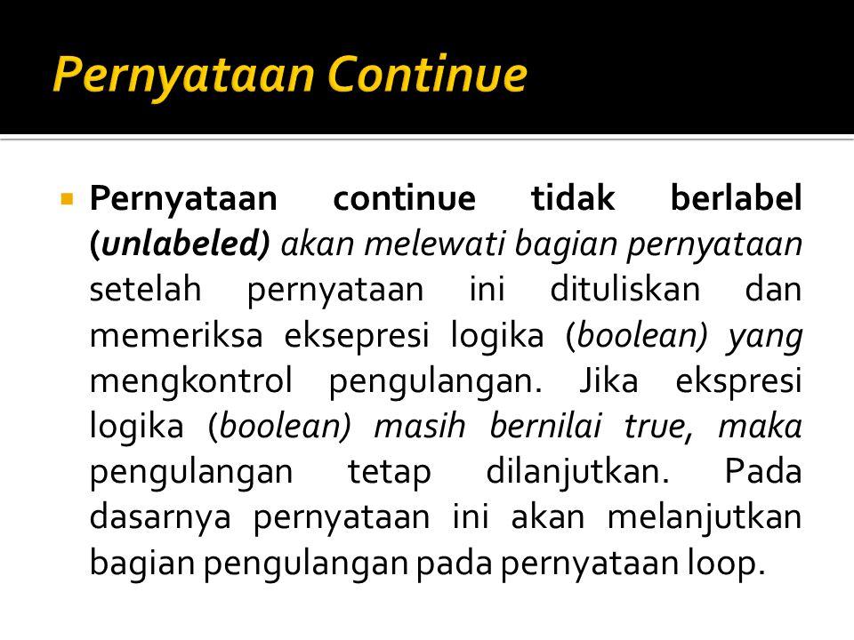  Pernyataan continue tidak berlabel (unlabeled) akan melewati bagian pernyataan setelah pernyataan ini dituliskan dan memeriksa eksepresi logika (boo