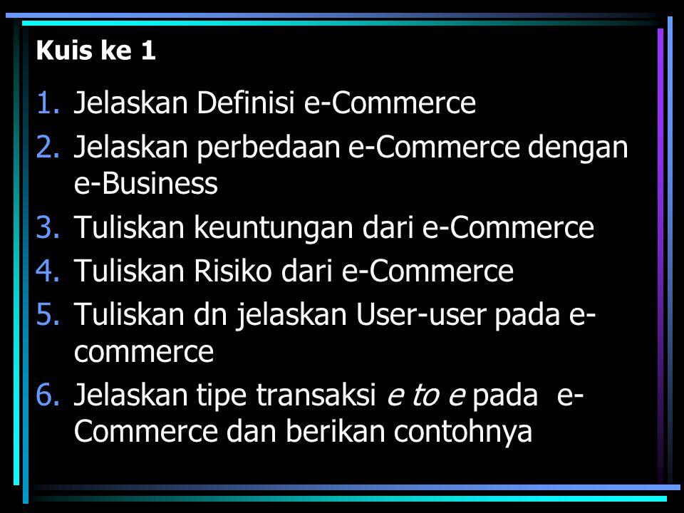 Kuis ke 1 1.Jelaskan Definisi e-Commerce 2.Jelaskan perbedaan e-Commerce dengan e-Business 3.Tuliskan keuntungan dari e-Commerce 4.Tuliskan Risiko dar