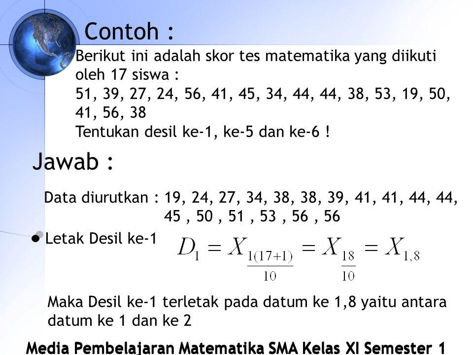 Media Pembelajaran Matematika SMA Kelas XI Semester 1 Contoh : Berikut ini adalah skor tes matematika yang diikuti oleh 17 siswa : 51, 39, 27, 24, 56, 41, 45, 34, 44, 44, 38, 53, 19, 50, 41, 56, 38 Tentukan desil ke-1, ke-5 dan ke-6 .