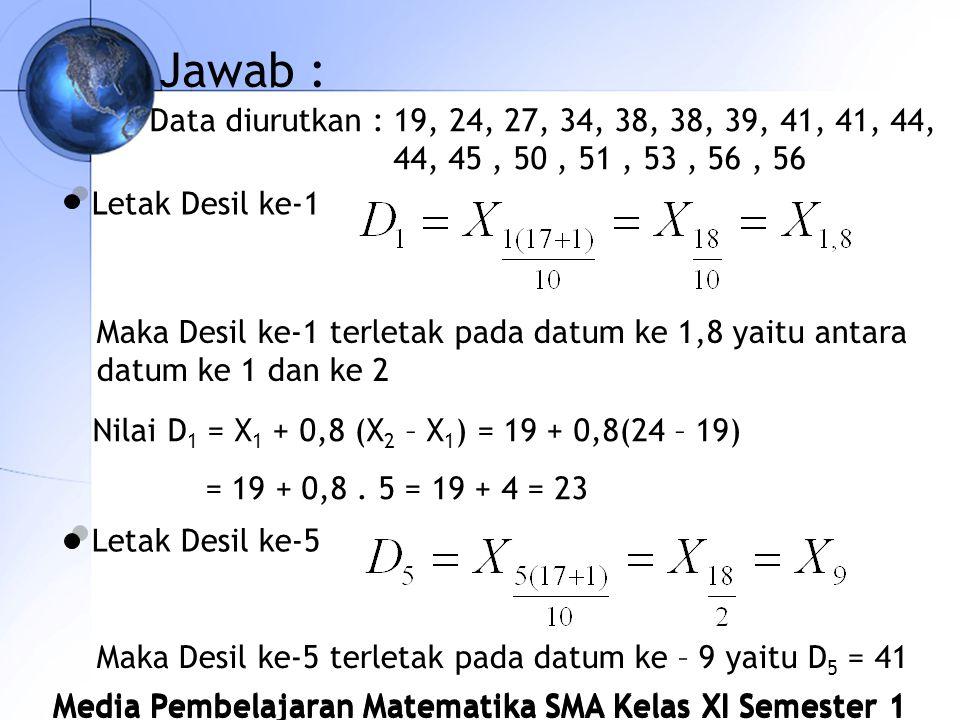 Jawab : Data diurutkan : 19, 24, 27, 34, 38, 38, 39, 41, 41, 44, 44, 45, 50, 51, 53, 56, 56 Letak Desil ke-1 Maka Desil ke-1 terletak pada datum ke 1,8 yaitu antara datum ke 1 dan ke 2 Nilai D 1 = X 1 + 0,8 (X 2 – X 1 ) = 19 + 0,8(24 – 19) = 19 + 0,8.