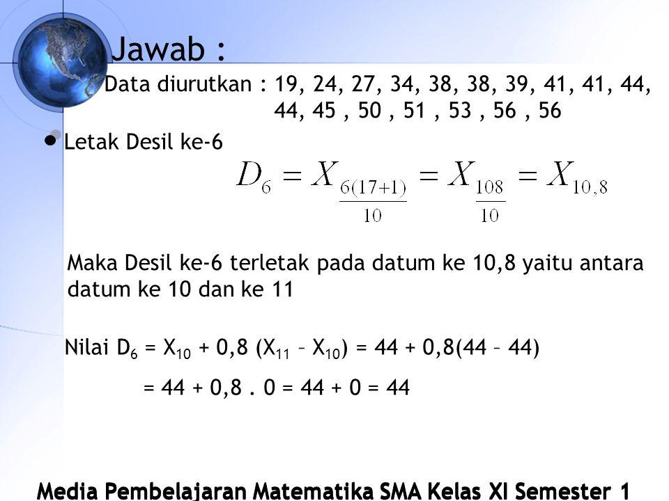Media Pembelajaran Matematika SMA Kelas XI Semester 1 Jawab : Data diurutkan : 19, 24, 27, 34, 38, 38, 39, 41, 41, 44, 44, 45, 50, 51, 53, 56, 56 Letak Desil ke-6 Maka Desil ke-6 terletak pada datum ke 10,8 yaitu antara datum ke 10 dan ke 11 Nilai D 6 = X 10 + 0,8 (X 11 – X 10 ) = 44 + 0,8(44 – 44) = 44 + 0,8.
