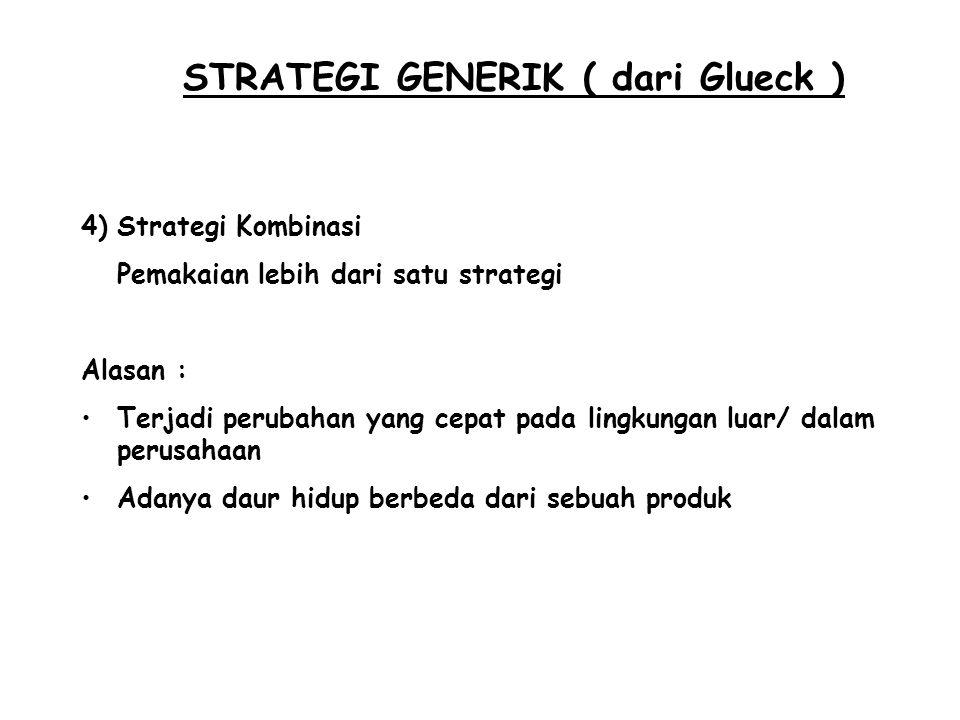 STRATEGI GENERIK ( dari Glueck ) 4)Strategi Kombinasi Pemakaian lebih dari satu strategi Alasan : Terjadi perubahan yang cepat pada lingkungan luar/ d