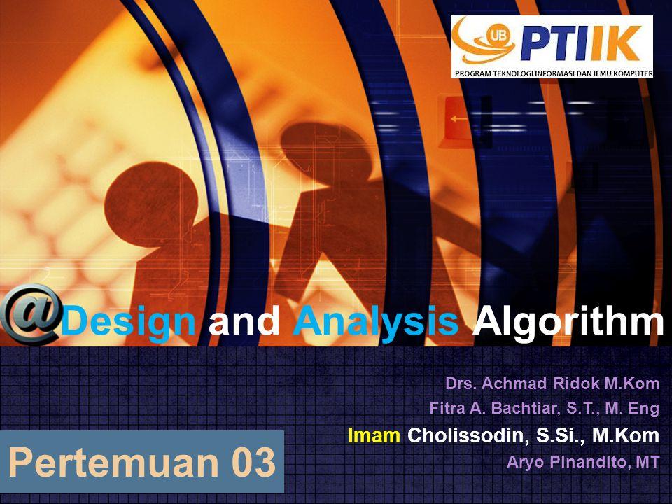 Analisa Efisiensi Algoritma Rekursif  Analisalah efisiensi waktu algoritma rekursif 12 Algorithm pangkat(X, n) //algoritma untuk menghitung nilai Xn secara rekursif //input : integer positif X dan n //output : nilai X n if n = 1 return X else return (X * pangkat(X, n-1))
