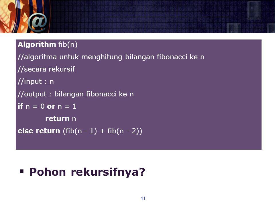  Pohon rekursifnya? 11 Algorithm fib(n) //algoritma untuk menghitung bilangan fibonacci ke n //secara rekursif //input : n //output : bilangan fibona