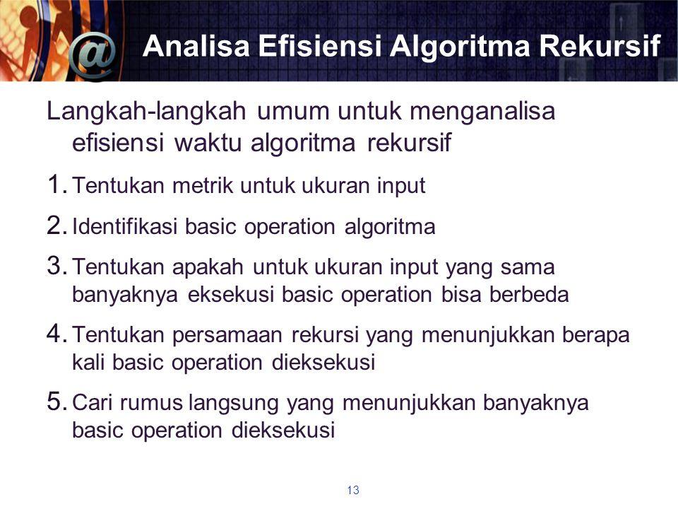 Analisa Efisiensi Algoritma Rekursif Langkah-langkah umum untuk menganalisa efisiensi waktu algoritma rekursif 1. Tentukan metrik untuk ukuran input 2