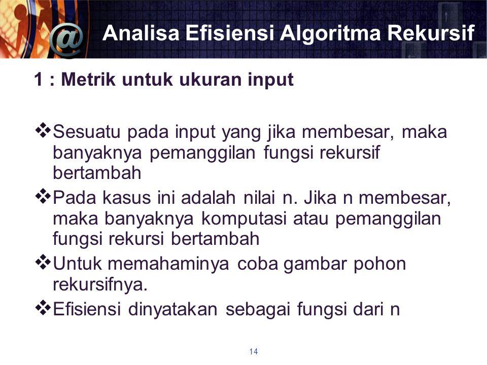 Analisa Efisiensi Algoritma Rekursif 1 : Metrik untuk ukuran input  Sesuatu pada input yang jika membesar, maka banyaknya pemanggilan fungsi rekursif