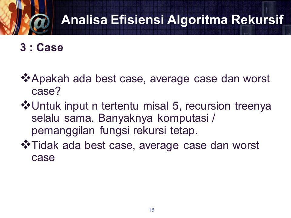 Analisa Efisiensi Algoritma Rekursif 3 : Case  Apakah ada best case, average case dan worst case?  Untuk input n tertentu misal 5, recursion treenya