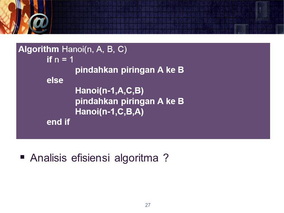  Analisis efisiensi algoritma ? 27 Algorithm Hanoi(n, A, B, C) if n = 1 pindahkan piringan A ke B else Hanoi(n-1,A,C,B) pindahkan piringan A ke B Han