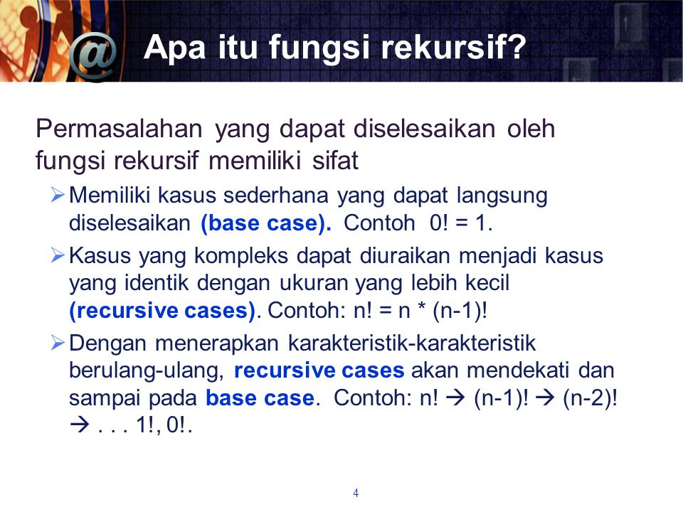 Latihan 1  Buatlah fungsi rekursif untuk menghitung nilai faktorial bilangan n  Buat pohon rekursif untuk faktorial(5)  Analisalah efisiensi waktu algoritmanya 25