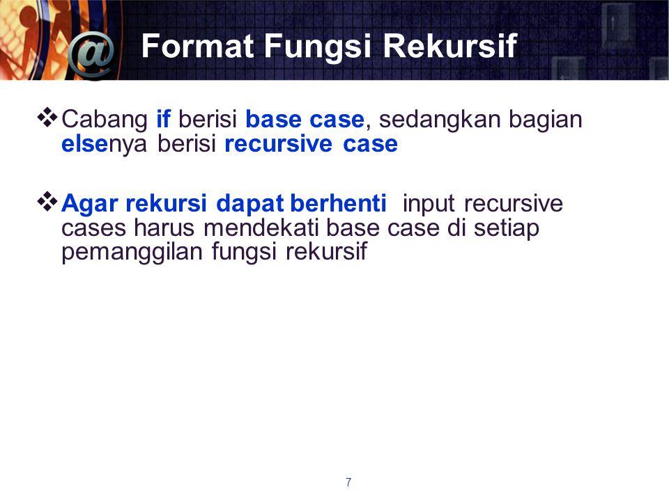 Format Fungsi Rekursif  Cabang if berisi base case, sedangkan bagian elsenya berisi recursive case  Agar rekursi dapat berhenti input recursive case