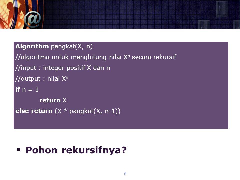  Pohon rekursifnya? 9 Algorithm pangkat(X, n) //algoritma untuk menghitung nilai X n secara rekursif //input : integer positif X dan n //output : nil