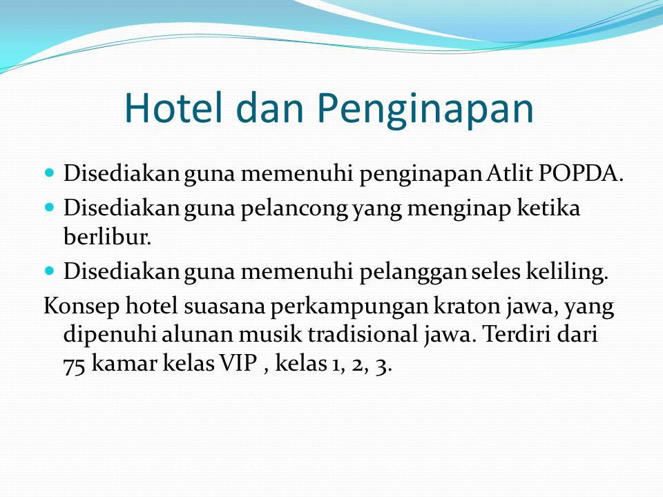 Hotel dan Penginapan Disediakan guna memenuhi penginapan Atlit POPDA. Disediakan guna pelancong yang menginap ketika berlibur. Disediakan guna memenuh