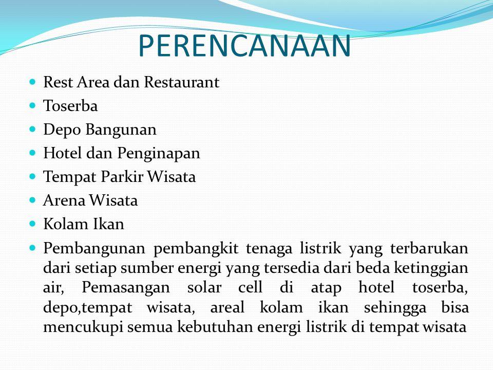 PERENCANAAN Rest Area dan Restaurant Toserba Depo Bangunan Hotel dan Penginapan Tempat Parkir Wisata Arena Wisata Kolam Ikan Pembangunan pembangkit te