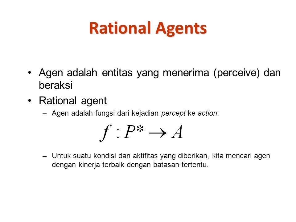 Rational Agents Agen adalah entitas yang menerima (perceive) dan beraksi Rational agent –Agen adalah fungsi dari kejadian percept ke action: –Untuk suatu kondisi dan aktifitas yang diberikan, kita mencari agen dengan kinerja terbaik dengan batasan tertentu.