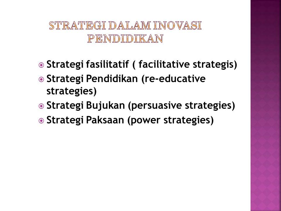  Strategi fasilitatif ( facilitative strategis)  Strategi Pendidikan (re-educative strategies)  Strategi Bujukan (persuasive strategies)  Strategi Paksaan (power strategies)