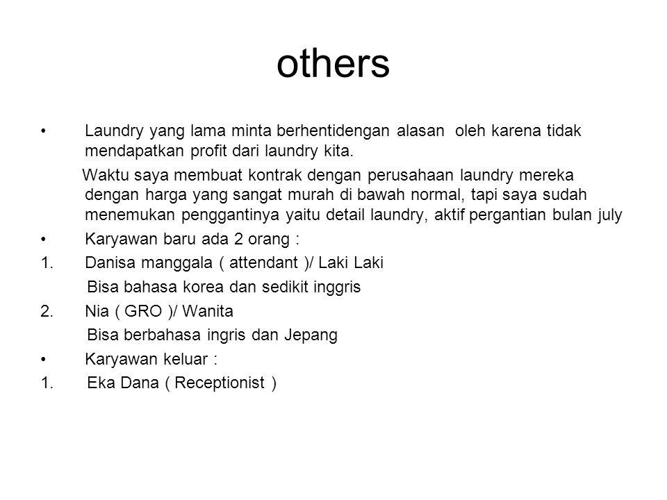 others Laundry yang lama minta berhentidengan alasan oleh karena tidak mendapatkan profit dari laundry kita.