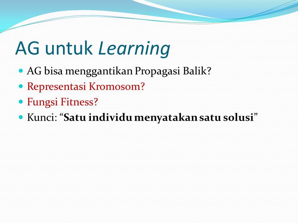 AG untuk Learning AG bisa menggantikan Propagasi Balik.