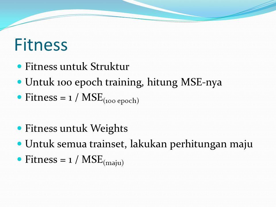 Fitness Fitness untuk Struktur Untuk 100 epoch training, hitung MSE-nya Fitness = 1 / MSE (100 epoch) Fitness untuk Weights Untuk semua trainset, lakukan perhitungan maju Fitness = 1 / MSE (maju)