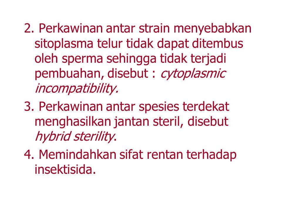 2. Perkawinan antar strain menyebabkan sitoplasma telur tidak dapat ditembus oleh sperma sehingga tidak terjadi pembuahan, disebut : cytoplasmic incom