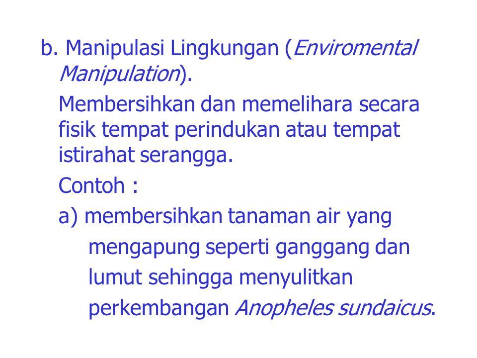 b. Manipulasi Lingkungan (Enviromental Manipulation). Membersihkan dan memelihara secara fisik tempat perindukan atau tempat istirahat serangga. Conto
