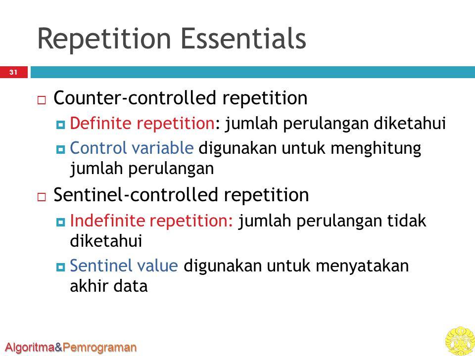 Algoritma&Pemrograman Repetition Essentials 31  Counter-controlled repetition  Definite repetition: jumlah perulangan diketahui  Control variable digunakan untuk menghitung jumlah perulangan  Sentinel-controlled repetition  Indefinite repetition: jumlah perulangan tidak diketahui  Sentinel value digunakan untuk menyatakan akhir data