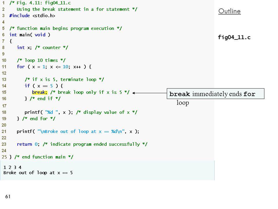 61 Outline fig04_11.c break immediately ends for loop
