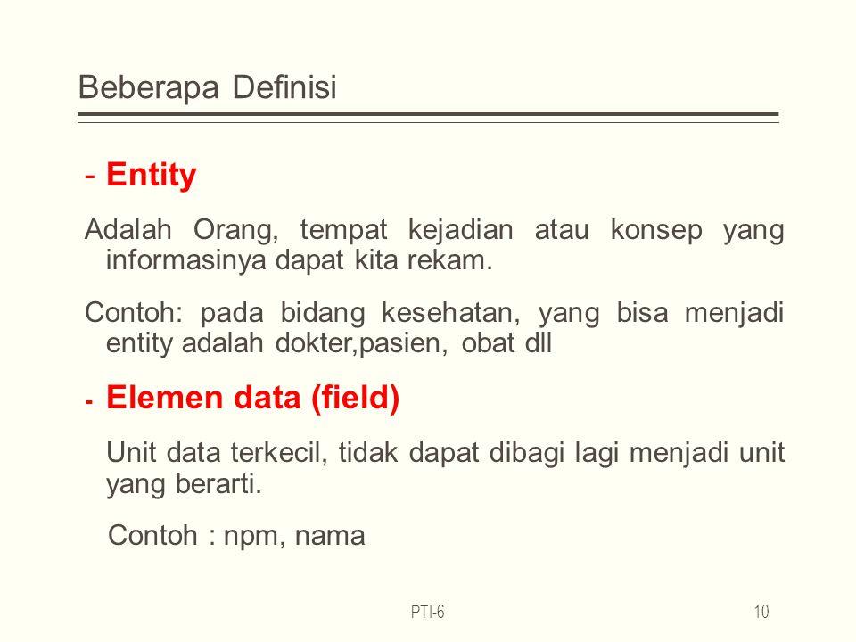 Beberapa Definisi -Entity Adalah Orang, tempat kejadian atau konsep yang informasinya dapat kita rekam.