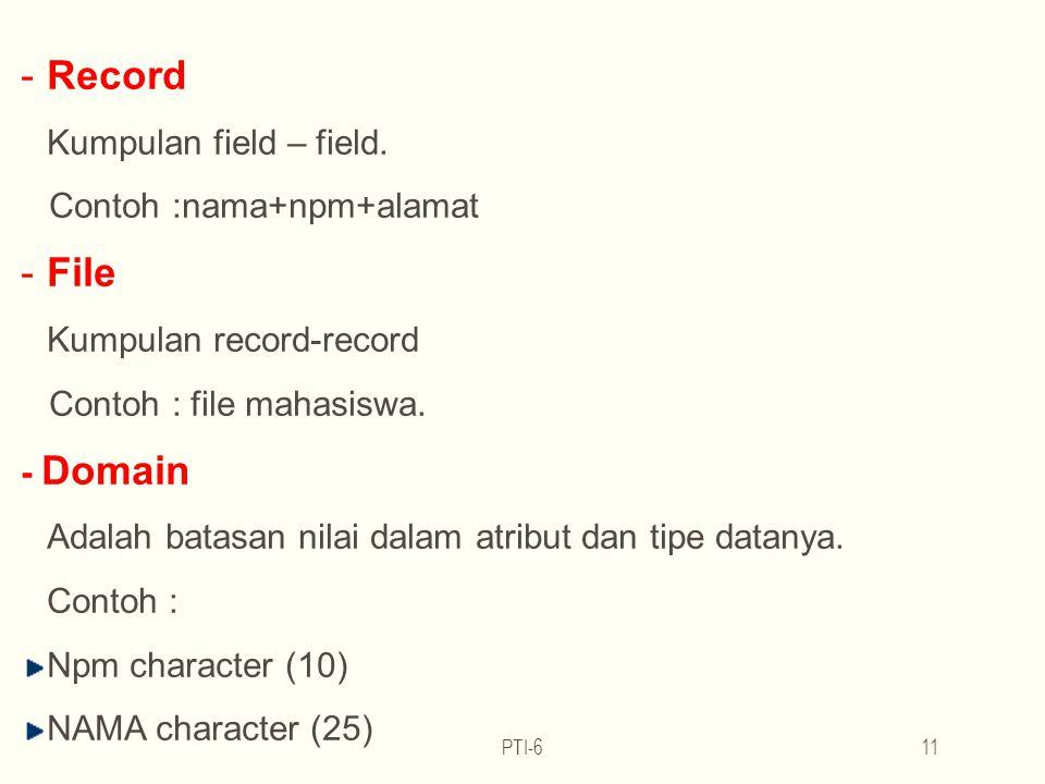 PTI-611 -Record Kumpulan field – field.