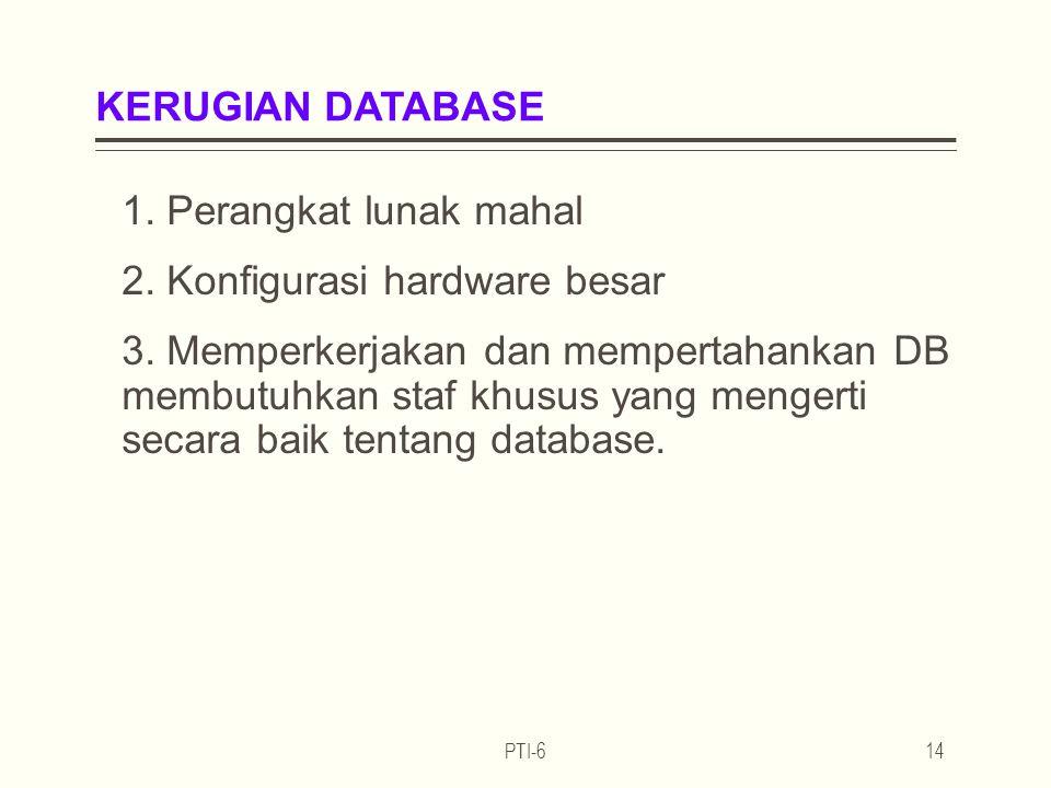 KERUGIAN DATABASE 1.Perangkat lunak mahal 2. Konfigurasi hardware besar 3.