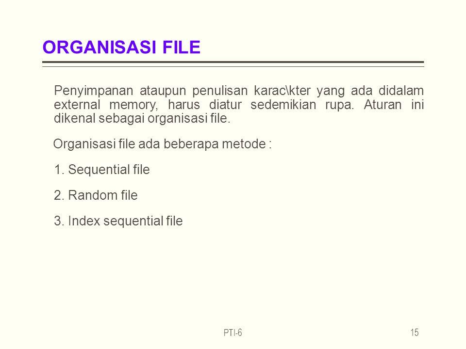 ORGANISASI FILE Penyimpanan ataupun penulisan karac\kter yang ada didalam external memory, harus diatur sedemikian rupa.