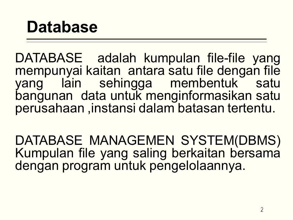 Database DATABASE adalah kumpulan file-file yang mempunyai kaitan antara satu file dengan file yang lain sehingga membentuk satu bangunan data untuk menginformasikan satu perusahaan,instansi dalam batasan tertentu.