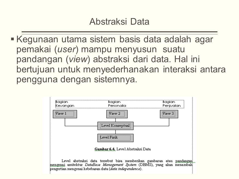 Abstraksi Data  Kegunaan utama sistem basis data adalah agar pemakai (user) mampu menyusun suatu pandangan (view) abstraksi dari data.