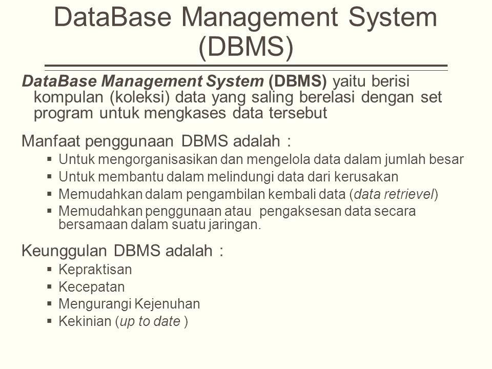 DataBase Management System (DBMS) DataBase Management System (DBMS) yaitu berisi kompulan (koleksi) data yang saling berelasi dengan set program untuk mengkases data tersebut Manfaat penggunaan DBMS adalah :  Untuk mengorganisasikan dan mengelola data dalam jumlah besar  Untuk membantu dalam melindungi data dari kerusakan  Memudahkan dalam pengambilan kembali data (data retrievel)  Memudahkan penggunaan atau pengaksesan data secara bersamaan dalam suatu jaringan.