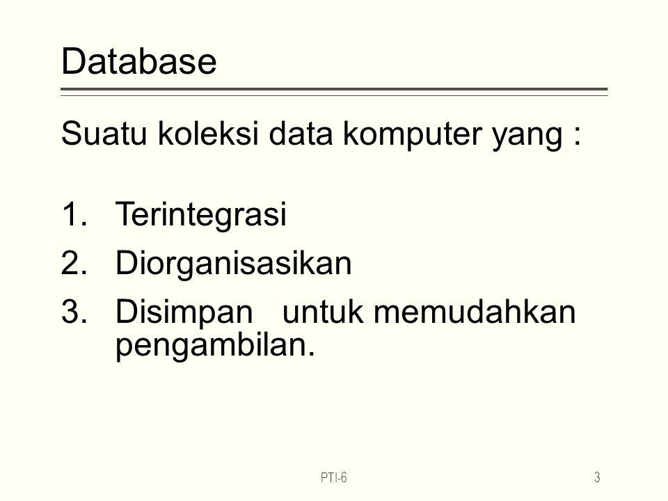 Database Suatu koleksi data komputer yang : 1.Terintegrasi 2.Diorganisasikan 3.Disimpan untuk memudahkan pengambilan.