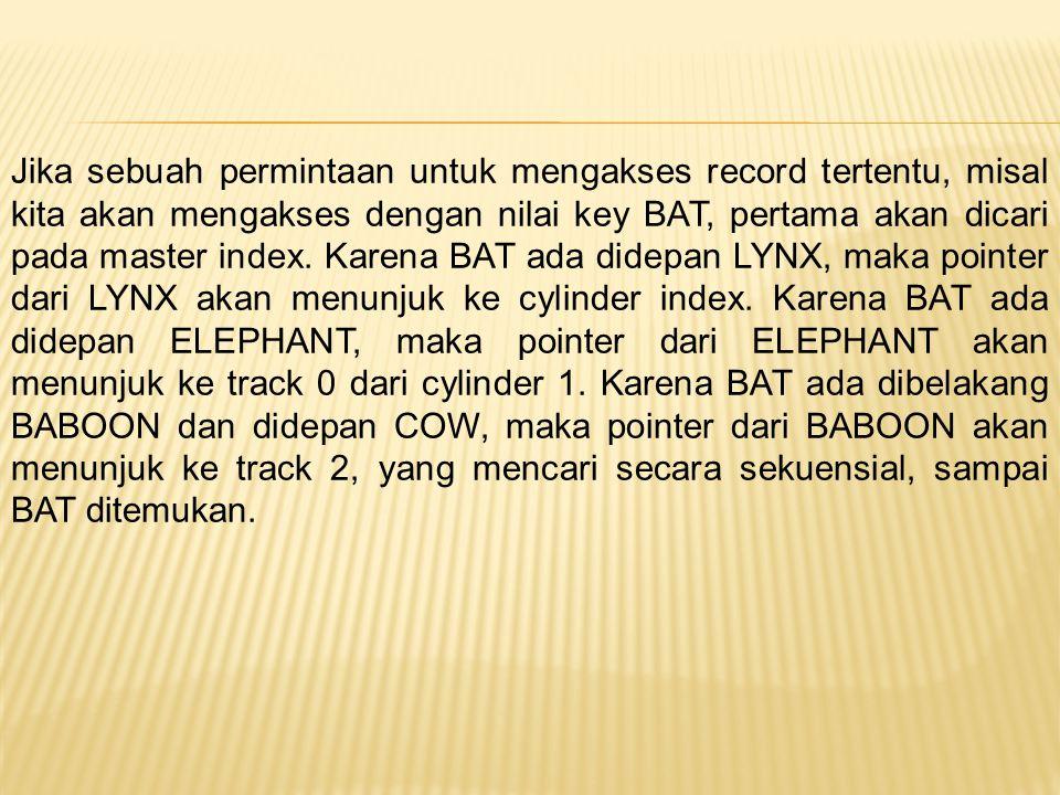Jika sebuah permintaan untuk mengakses record tertentu, misal kita akan mengakses dengan nilai key BAT, pertama akan dicari pada master index. Karena