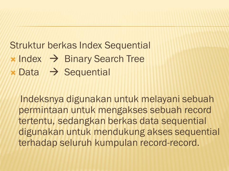 Struktur berkas Index Sequential  Index  Binary Search Tree  Data  Sequential Indeksnya digunakan untuk melayani sebuah permintaan untuk mengakses