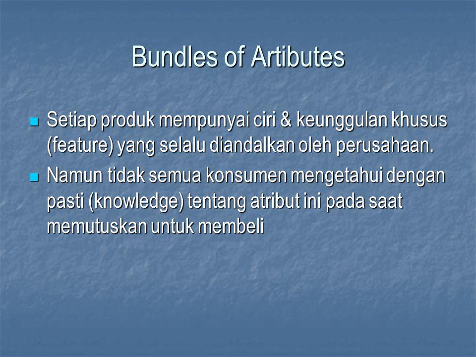 Bundles of Artibutes Setiap produk mempunyai ciri & keunggulan khusus (feature) yang selalu diandalkan oleh perusahaan. Setiap produk mempunyai ciri &