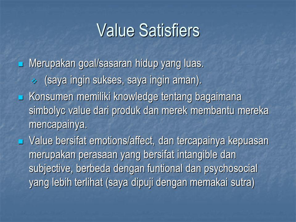 Value Satisfiers Merupakan goal/sasaran hidup yang luas. Merupakan goal/sasaran hidup yang luas.  (saya ingin sukses, saya ingin aman). Konsumen memi