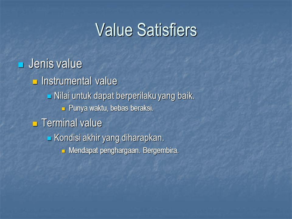 Value Satisfiers Jenis value Jenis value Instrumental value Instrumental value Nilai untuk dapat berperilaku yang baik. Nilai untuk dapat berperilaku